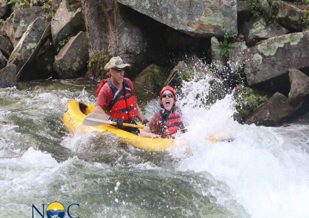 Father and Son enjoy the rapids